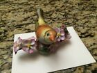 Herend Hungary Yellow Porcelain Bird With Flowers