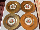 4 Vintage Royal China Angelica Kauffman 22K Gold Encrusted Dinner Plates 10 1/2