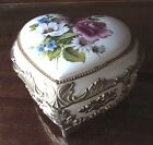 Antique Heart Porcelain Brass Music Trinket Hinged Box Japan Roses