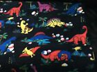 Rare dinosaur fleece fabric on black background 60w sold BTY