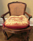 VINTAGE FRENCH WALNUT CHAIR CANED SEAT PARLOR VANITY w NEEDLEPOINT CUSHION