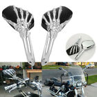 Motorcycle Chrome Skull Skeleton Hand Side Rearview Mirrors For Harley Davidson