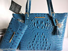 Brahmin Medium Asher Teal Croc Embossed Leather Tote Bag + Checkbook Wallet NWT