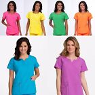 NEW WOMEN PEACHES NURSING UNIFORM BOLD BRIGHT BANDED CROSSOVER SCRUB TOP XS XL