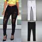 Women Pencil Stretch Casual Denim Skinny Ripped Pants High Waist Jeans Trousers