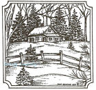 Cabin And Fence Scene Wood Mounted Rubber Stamp Northwoods Stamp MM8829 New