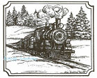 Train In Notched Rectangle Wood Mounted Rubber Stamp NORTHWOODS NEW M8832