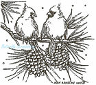 Cardinals On Pine Branch Wood Mounted Rubber Stamp NORTHWOODS NEW CC8301