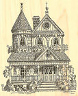 Victorian House Wood Mounted Rubber Stamp IMPRESSION OBSESSION NEW G1746