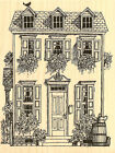 House With Flowers Wood Mounted Rubber Stamp IMPRESSION OBSESSION NEW G1742