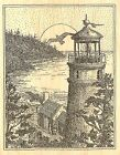 OCEAN LIGHTHOUSE VIEW Wood Mounted Rubber Stamp Impression Obsession H2506 NEW
