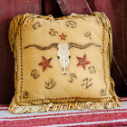 Handmade 16 X 16 Leather Native American Style Western LONGHORN PILLOW