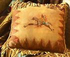 Handmade 16 X 16 Leather Native American Style Western CAYUSE FRINGED PILLOW