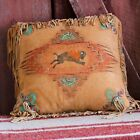 Handmade 16 X 16 Leather Native American Style Western BUFFALO SPIRIT PILLOW