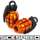 2 PC ORANGE ANODIZED GRENADE VALVE STEM CAP KIT/SET FOR MOTORCYCLE TIRES M5