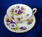 Royal Chelsea England ~ PANSY ~ Floral TEACUP tea cup saucer purple yellow