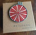 Silpada Sterling Silver Red Psychedelic Disc Pendant Only - Retired