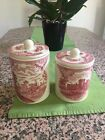 JOHNSON BROS. BROTHERS FRIENDLY VILLAGE PINK CANISTER & LID 2 Large Small Coffee