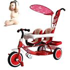 Hot Toddler Twins Tricycle Infant 2 Seats Pram Stroller Pushchair With Parasol