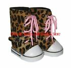 Leopard Print High Top Buckle Sneakers Fits 18 in American Girl Doll Clothes