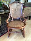 VINTAGE WOOD CANE BACK AND SEAT CRAFT ROCKING CHAIR
