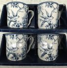 New Set Of 4 222 Fifth Adelaide Blue Large Coffee Mugs French Country Bird Toile