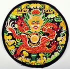 Finished Chinese Vintage Royal Dragon Quilt Fabric Embroidery Patch Painting