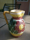 ART POTTERY MAJOLICA PITCHER COLORED FLORAL ITALY MARK 5