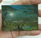 Philippe Fernandez Original ACEO Miniature Painting Forest Moon Landscape Crows