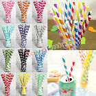 25 50 100pcs Biodegradable Paper Drinking Straws Striped Birthday Party Wedding