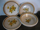 Mikasa Stone Manor Melissa 2 Salad Plates 3 Soup Bowls Yellow and Orange Flowers