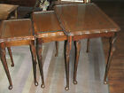 Vintage Nesting Tables Wood Queen Anne Style Carved Legs Leather Tops w/ Glass