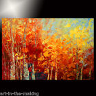 ORIGINAL forest painting fall foliage red leaves AUTUMN texture TATIANA fine ART