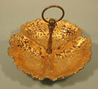 Weeping Bright Gold 3 Section Candy Dish with Metal Handle
