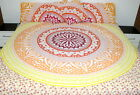 Queen size Mandala star ombre yellow bedspread with pillowcases