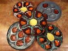 5 VINTAGE FRENCH MAJOLICA OYSTER PLATES Vallauris Pornic Orange Blue Brown White