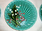 Old German green majolica plate with lily of the valley decor Schramberg D-6.5