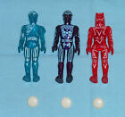 vintage Tomy TRON ACTION FIGURES LOT x3 Tron Flynn Sark complete with 3 discs