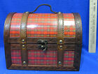 Wood Treasure Chest Handbag Purse Lunch Box Red Plaid Leather Straps