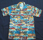 Superior Uniform Group S Small Hawaiian Shirt Vtg Cars Drive Through Diner Gas