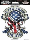 Sticker USA US Flag Skull For Motorcycle Windshield Fairing Lethal Threat Decal