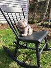 Childrens antique solid wood black rocking chair