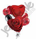 7 pc Classic Red Rose Love Happy Valentines Day Balloon Bouquet Mine Hug Kiss