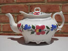 Old Antique Early Staffordshire Porcelain Teapot HP Flowers Foliage 19th C