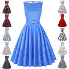 1940s 50s Retro Vintage Polka/Floral Swing Pinup Dress Housewife Evening Party