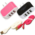 Triple USB Charging Port Data w Cable wall Charger Cord for Adriod Cell phones