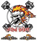 Lethal Threat Burning Flame Skull Piston Sticker Windshield Fairing Body Decal