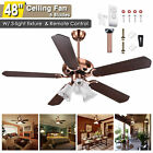 48 5 Blades Ceiling Fan with Light Kit Downrod Copper Reversible Remote Control