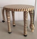 Grazing Zebra Hand Carved Wood Table Stool with Swivel Tail EUC
