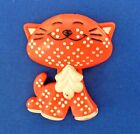 Buy3/Get1FREE~AVON Pin RED CALICO Kitty CAT Fragrance Glace 1970s ~ EMPTY